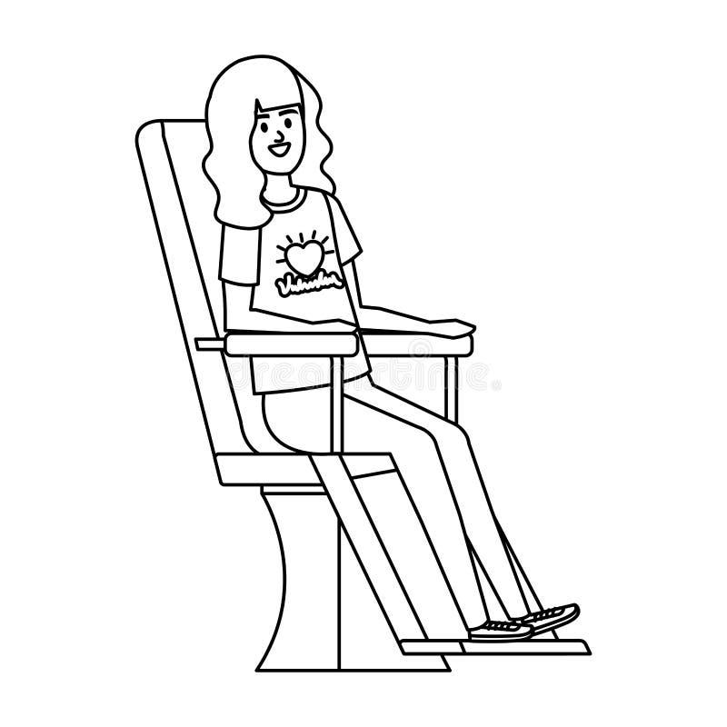 Volontaire de jeune femme dans la chaise de donation illustration libre de droits