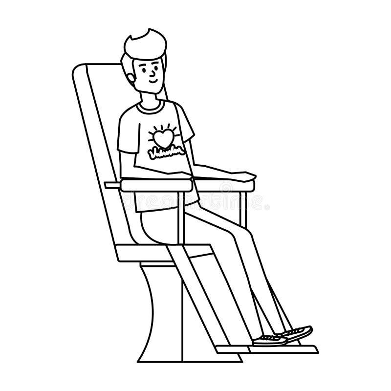 Volontaire de jeune homme dans la chaise de donation illustration libre de droits
