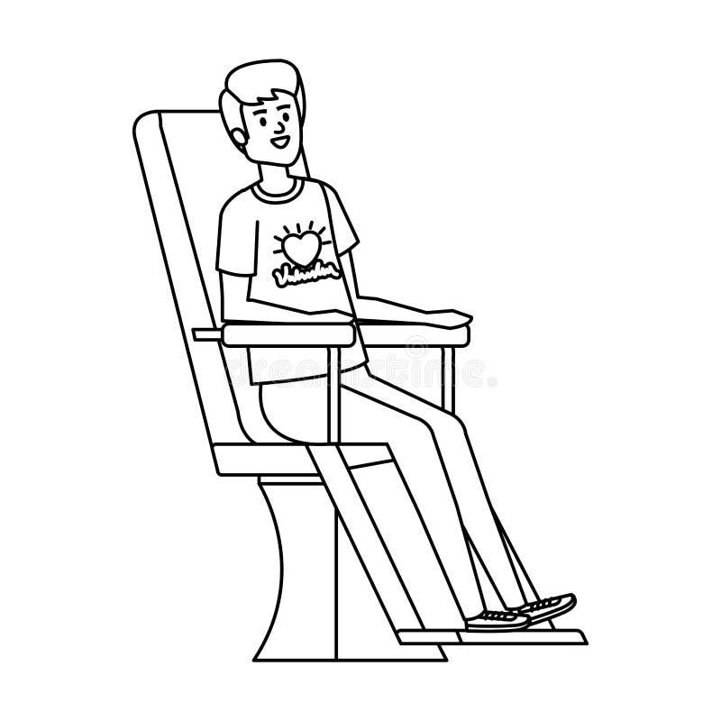 Volontaire de jeune homme dans la chaise de donation illustration stock