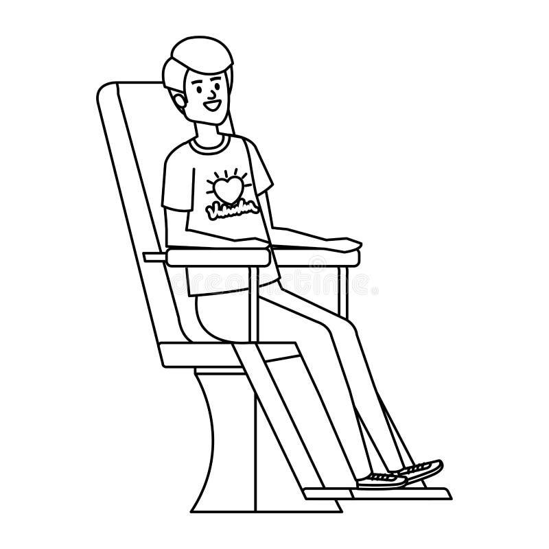 Volontaire de jeune homme dans la chaise de donation illustration de vecteur