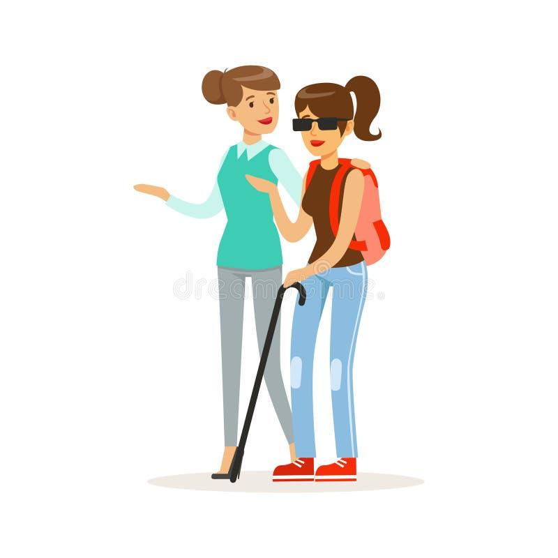 Volontaire de sourire de femelle aidant et soutenant la femme aveugle, l'aide de soins de santé et le vecteur coloré d'accessibil illustration libre de droits