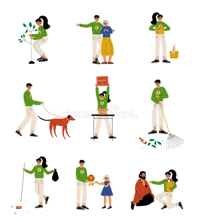 Volontaires aidant des personnes âgées, personnes sans abri, animaux, plantant des arbres et recueillant l'ensemble de déchets, o illustration stock