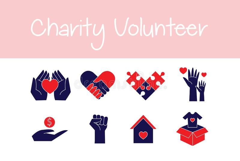 Volontaires de bannière et vecteur d'icône de travail de donation d'aide de charité illustration stock