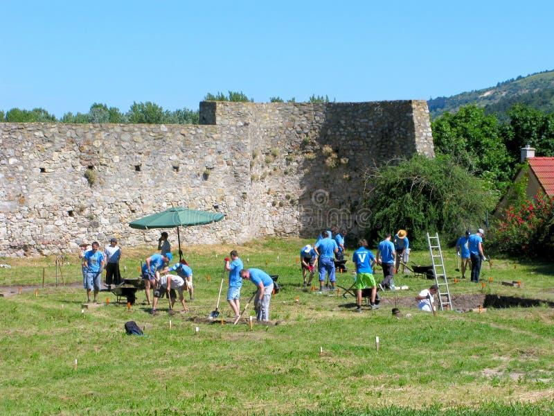 Volontaires, excavations archéologiques photo libre de droits