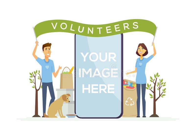 Volontaires heureux - illustration colorée de caractères de personnes de bande dessinée illustration de vecteur