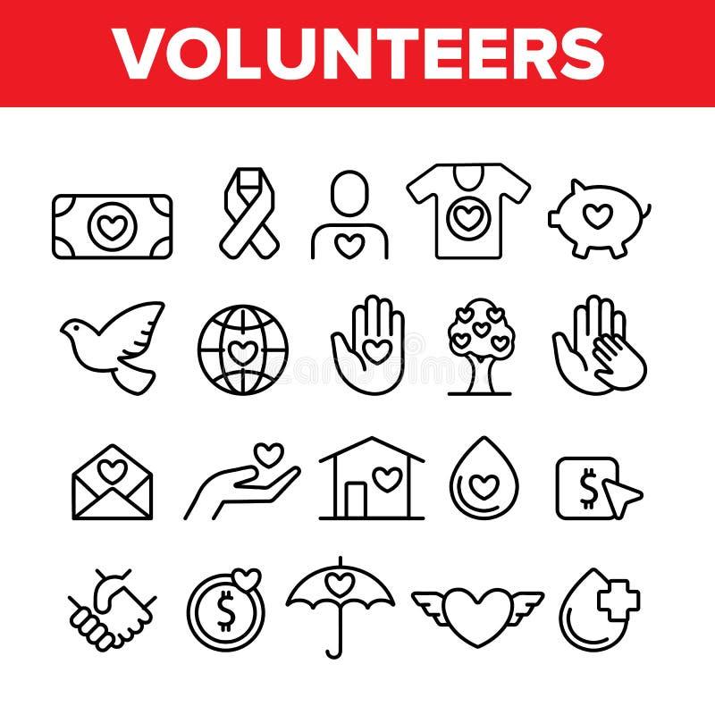 Volontaires, ligne mince ensemble de vecteur de charité d'icônes illustration de vecteur