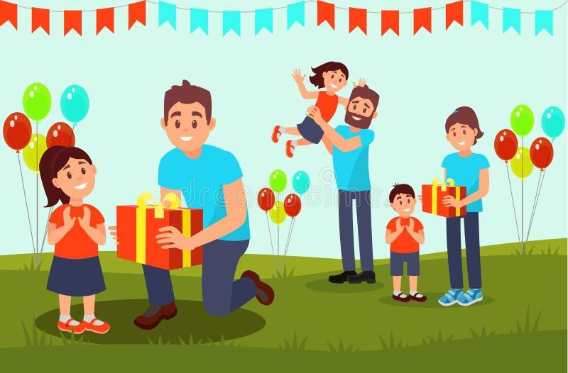 Volontari che danno i regali ai bambini Evento di carità per i bambini Scena con le bandiere ed i palloni della stamina Vettore p royalty illustrazione gratis