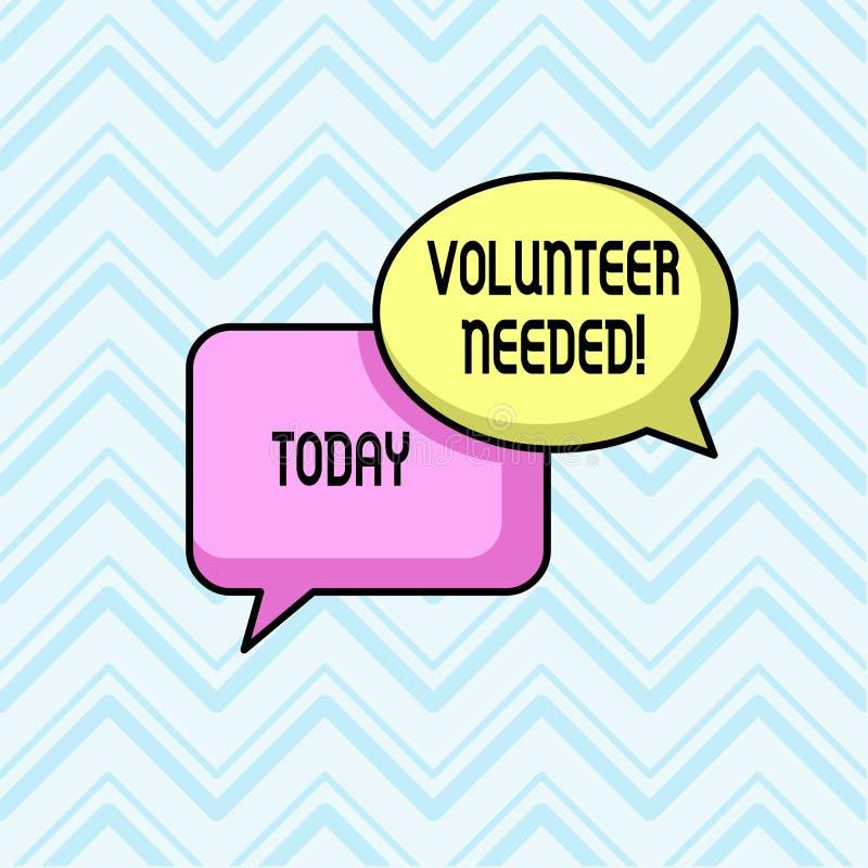 Volontario del testo della scrittura stato necessario Significato di concetto che chiede dimostrazione al lavoro l'organizzazione illustrazione di stock
