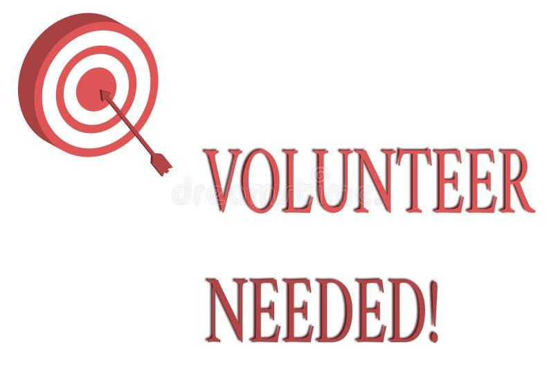 Volontario del testo di scrittura di parola stato necessario Concetto di affari per il lavoro di bisogno per l'organizzazione sen illustrazione di stock