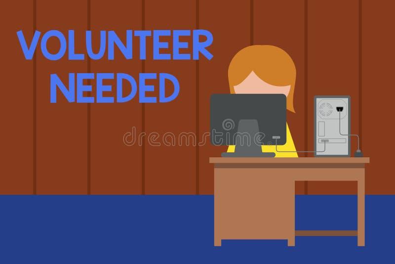 Volontario del testo di scrittura di parola stato necessario Concetto di affari per il ricerca dell'assistente per fare compito s illustrazione vettoriale