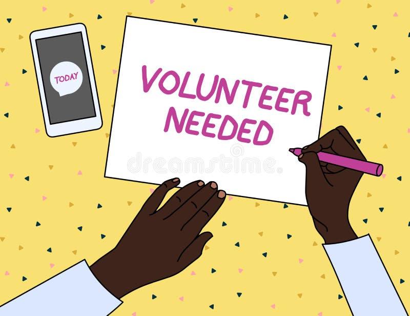 Volontario del testo di scrittura di parola stato necessario Concetto di affari per il ricerca dell'assistente per fare compito s illustrazione di stock