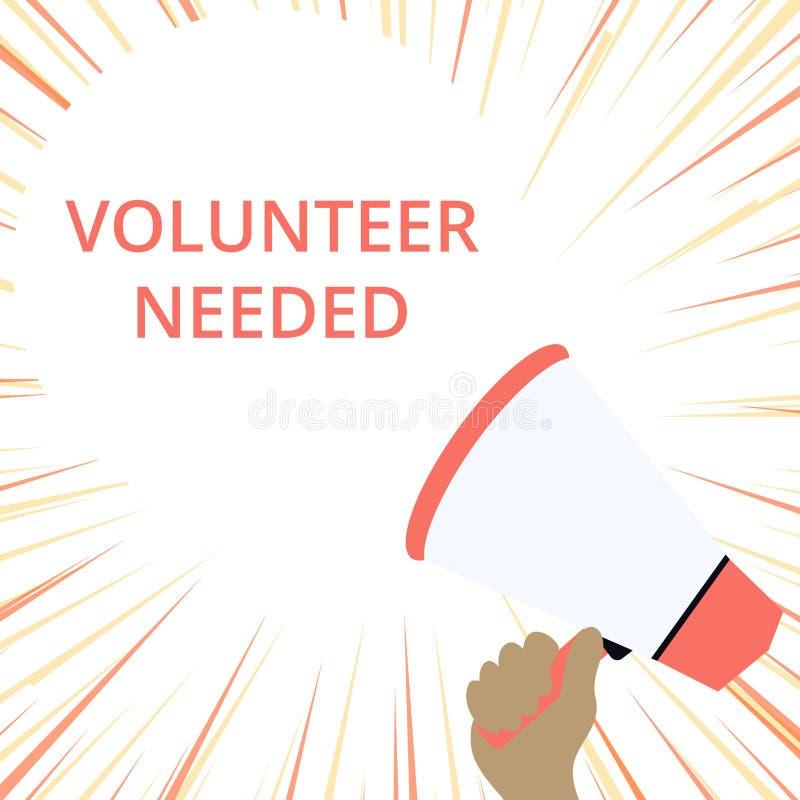 Volontario del testo di scrittura di parola stato necessario Concetto di affari per il ricerca dell'assistente per fare compito s royalty illustrazione gratis
