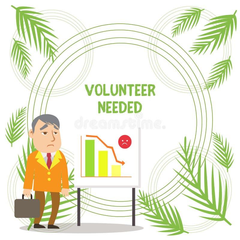 Volontario di scrittura del testo della scrittura stato necessario Significato di concetto che cerca assistente per fare compito  illustrazione di stock