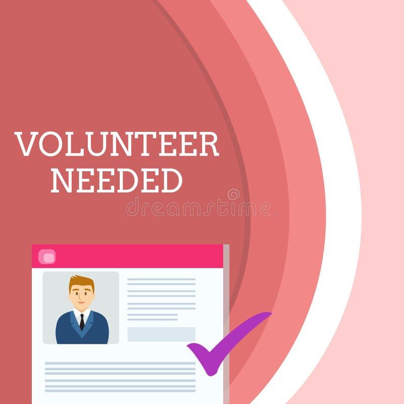 Volontario di scrittura del testo della scrittura stato necessario Significato di concetto che cerca assistente per fare compito  royalty illustrazione gratis