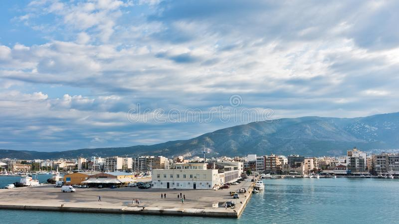 Volos port and harbor at morning with Pelion mountain in background stock image