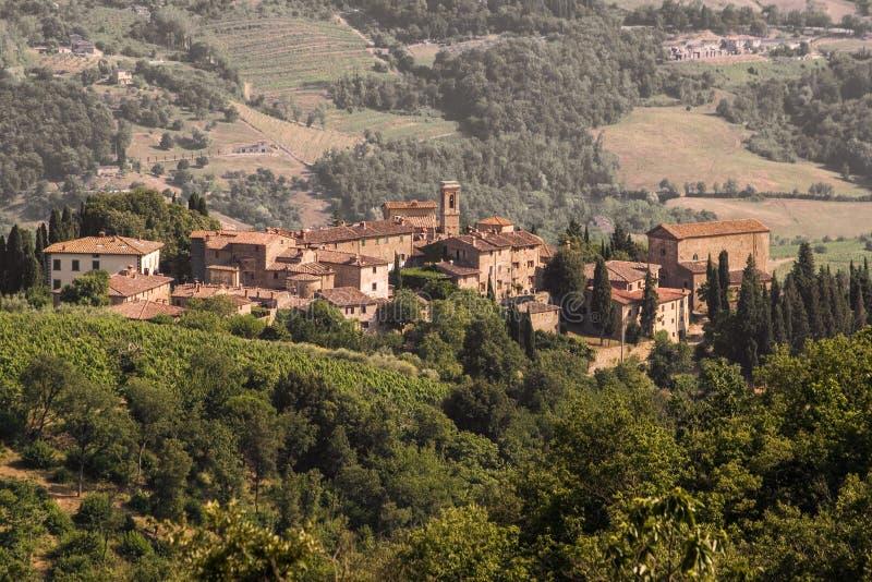 Volpaia, Chianti Vista della Toscana immagine stock libera da diritti