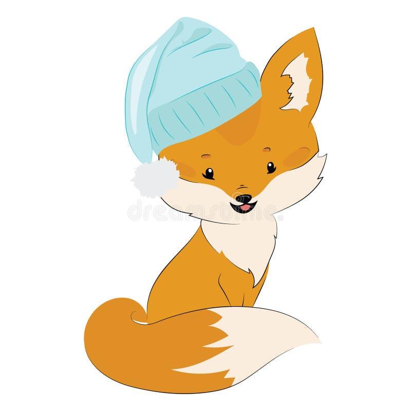 Volpe del fumetto in un cappello Volpe sveglia stilizzata Illustrazione di vettore per i bambini Animale selvatico illustrazione di stock