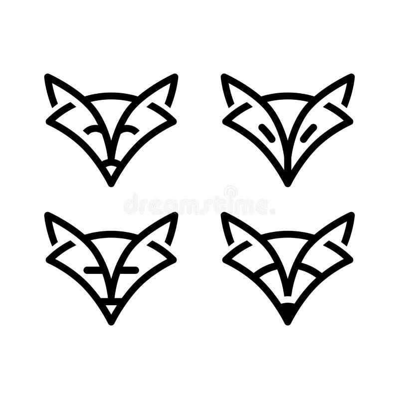 Volpe del segno nella linea stile di arte, segno alla moda semplice illustrazione di stock