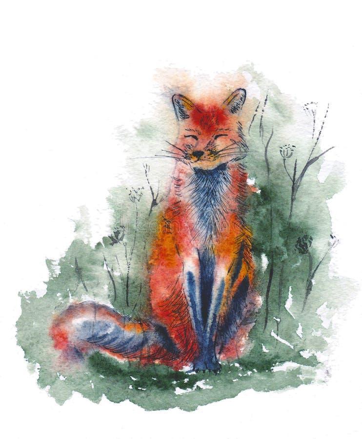 Volpe rossa nell'illustrazione dell'acquerello della foresta Animale di seduta sveglio royalty illustrazione gratis