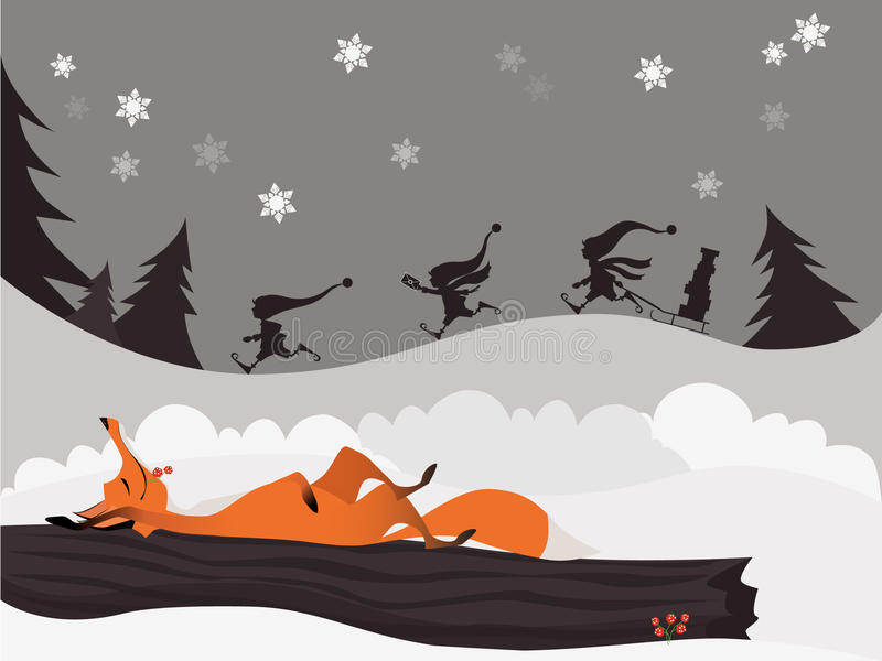 Volpe rossa nella foresta di natale di inverno ed elfi svegli illustrazione vettoriale