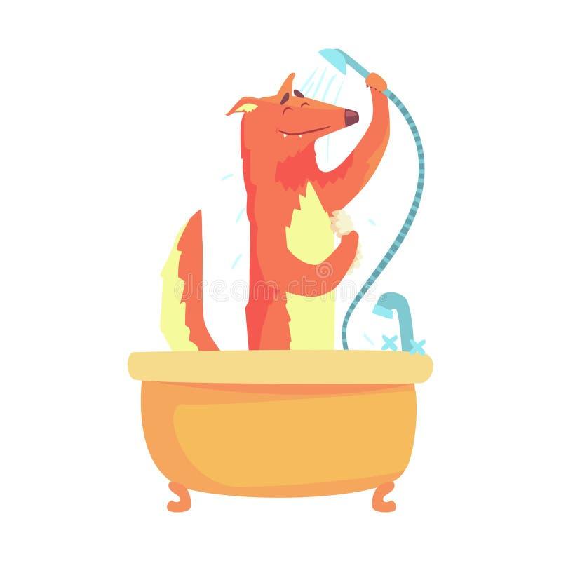 Volpe sveglia del fumetto che prende una doccia, lavaggio in un carattere variopinto della vasca, illustrazione animale della vol royalty illustrazione gratis