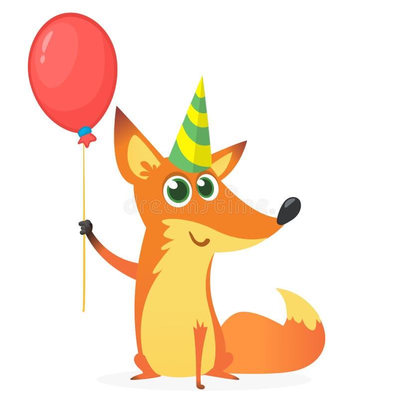 Volpe sveglia del fumetto che tiene pallone ed il cappello rossi del partito Illustrazione di vettore per la cartolina di complea illustrazione vettoriale