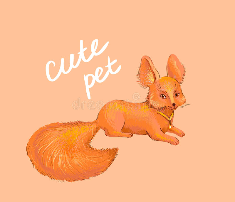 Volpe sveglia L'animale domestico disegnato a mano, adatto a stampa sui bambini copre royalty illustrazione gratis