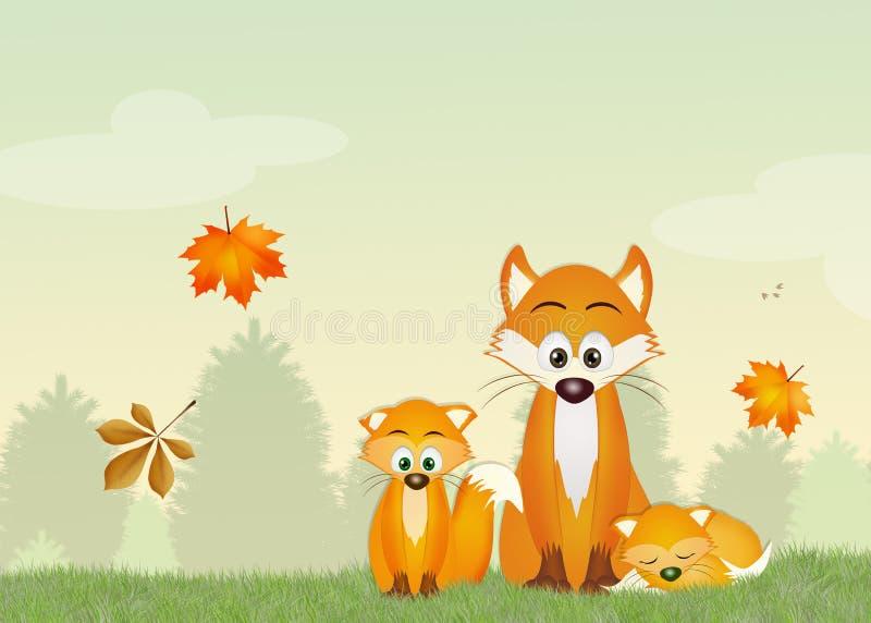 Volpi rosse nella foresta illustrazione di stock