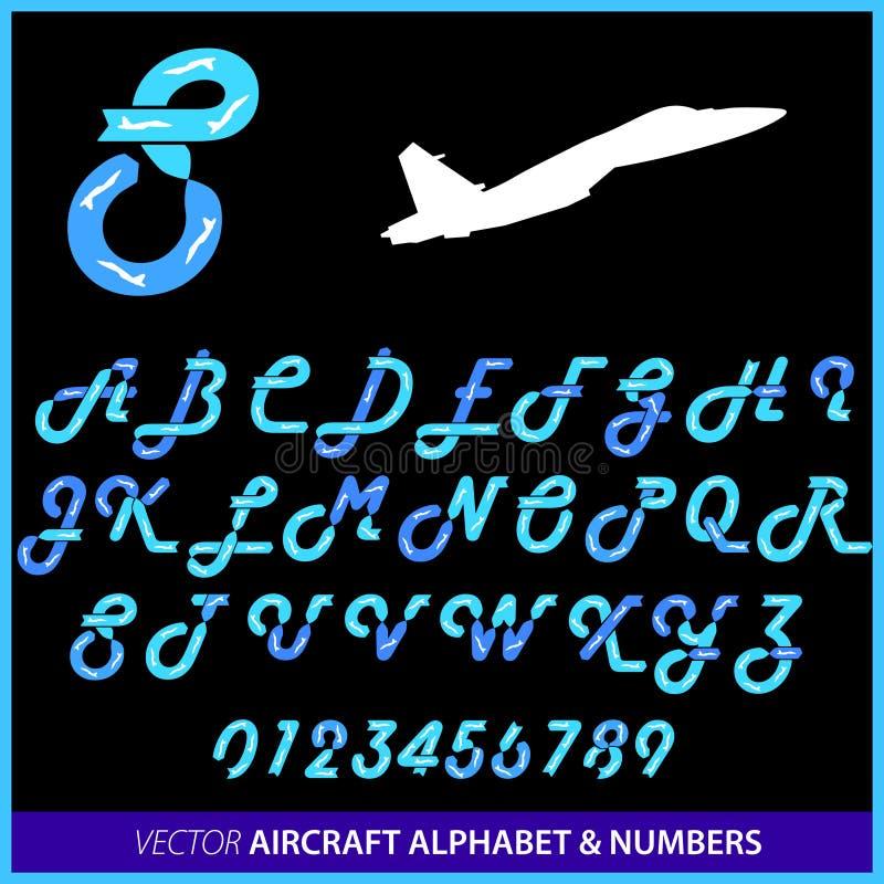 Vols acrobatiques dans un alphabet d'avion illustration de vecteur
