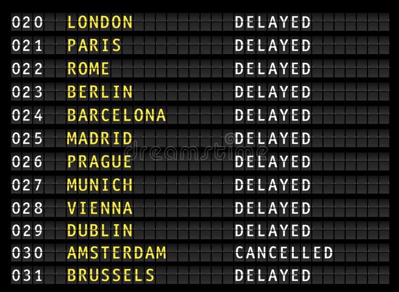 Vols retardés et décommandés sur le panneau d'affichage de l'information d'aéroport, vecteur illustration de vecteur