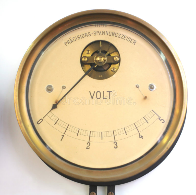 Voltímetro retro imagens de stock