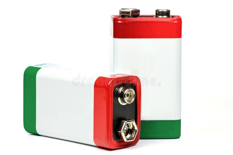 9 volt kvarterbatterie arkivfoto