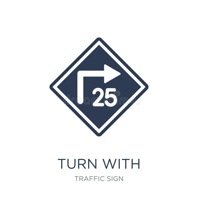 volta com ícone consultivo do sinal da velocidade Volta lisa na moda do vetor com ilustração stock