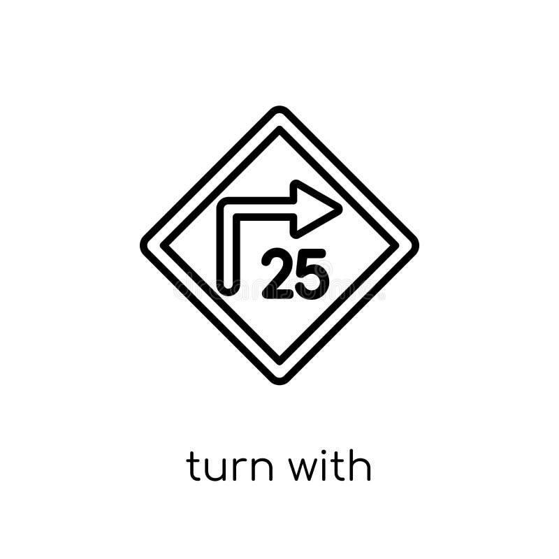 volta com ícone consultivo do sinal da velocidade Plano moderno na moda VE linear ilustração stock