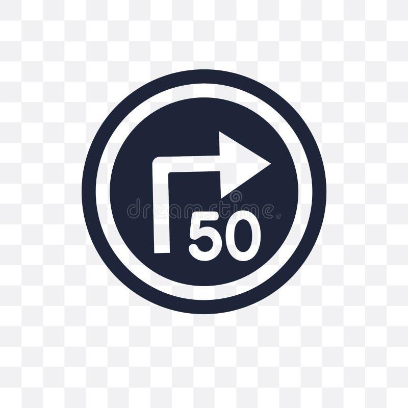 volta com ícone transparente do sinal consultivo da velocidade volta com advis ilustração royalty free