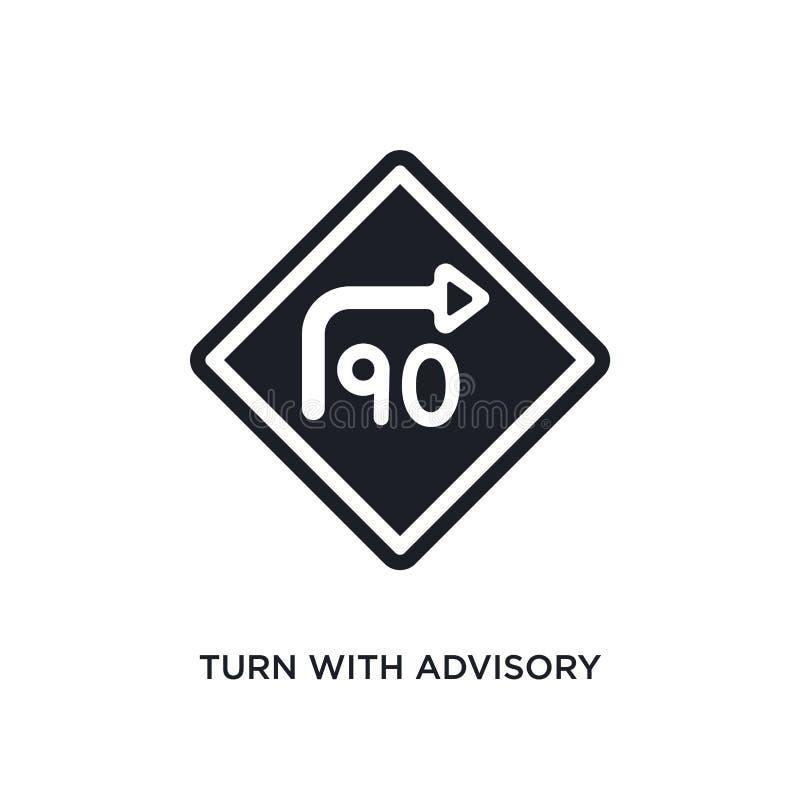 volta com velocidade consultiva ícone isolado ilustração simples do elemento dos ícones do conceito dos sinais de tráfego volta c ilustração stock