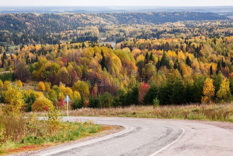 Volta da estrada, saindo na floresta do russo do outono com as árvores amarelas, vermelhas e verdes coloridas um o dia ensolarado imagem de stock