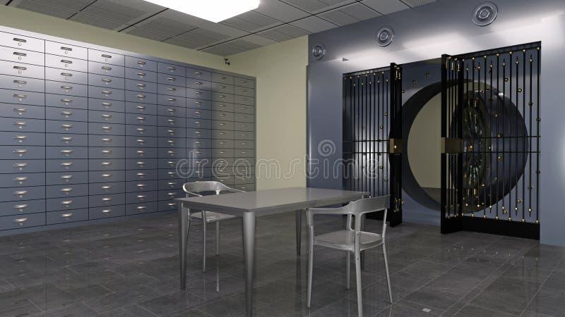 Volta sicura, dentro di una volta di banca con le scatole di deposito e tavola e sedie del metallo, illustrazione 3D illustrazione di stock