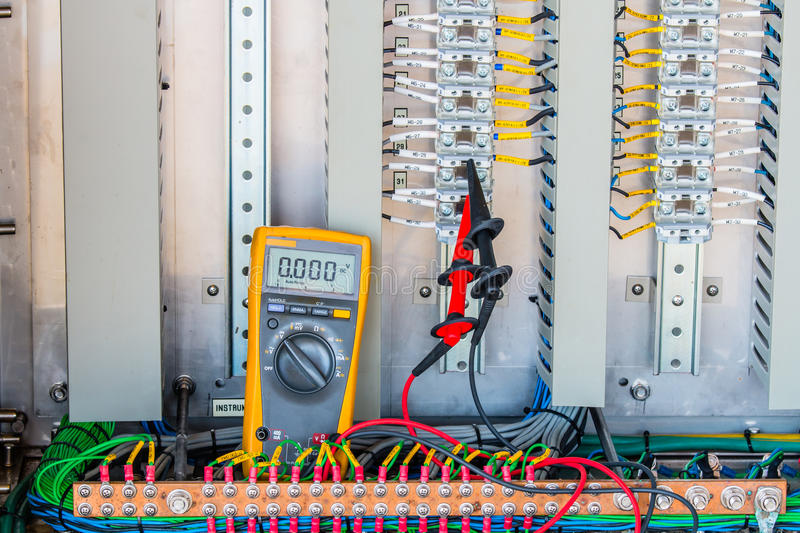 Voltage 24 Vdc Measurement connectivity at terminal of Electrical control panel,terminal ,Voltage measurement royalty free stock image