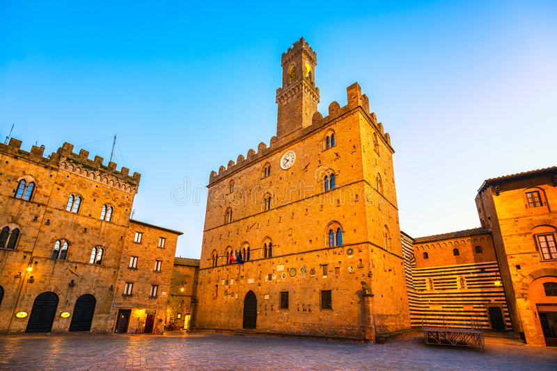 Volterra, medieval palace Palazzo Dei Priori, Pisa state, Tuscan. Volterra town central square, medieval palace Palazzo Dei Priori landmark, Pisa state, Tuscany royalty free stock photo