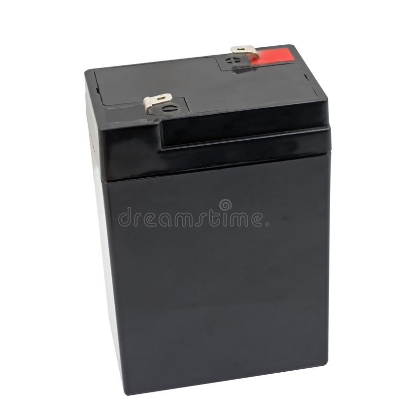 6 voltios de batería aislada en blanco imagen de archivo libre de regalías