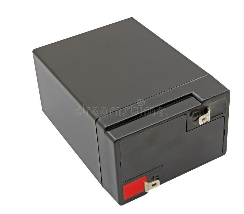 6 voltios de batería aislada en blanco imagenes de archivo
