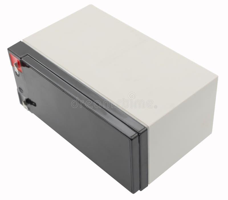 12 voltios de batería aislada en blanco fotografía de archivo libre de regalías