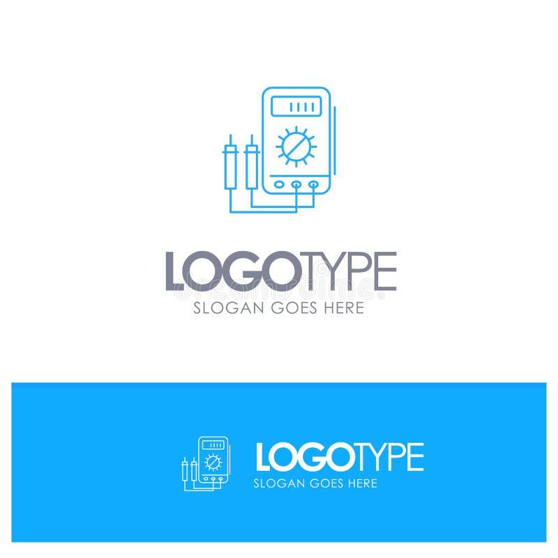 Voltmeter, Ampere, Watt, Digital, blaues Logo Entwurf der Prüfvorrichtung mit Platz für Tagline stock abbildung