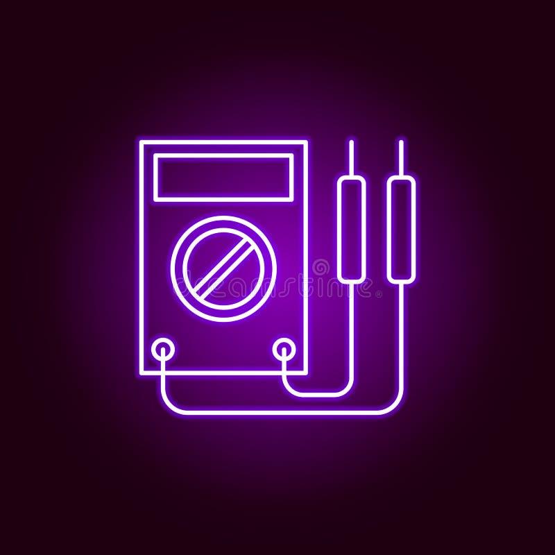 voltmeter konturu samochodowa ikona w neonowym stylu Elementy samochód naprawy ilustracja w neonowej stylowej ikonie Znaki i symb ilustracji