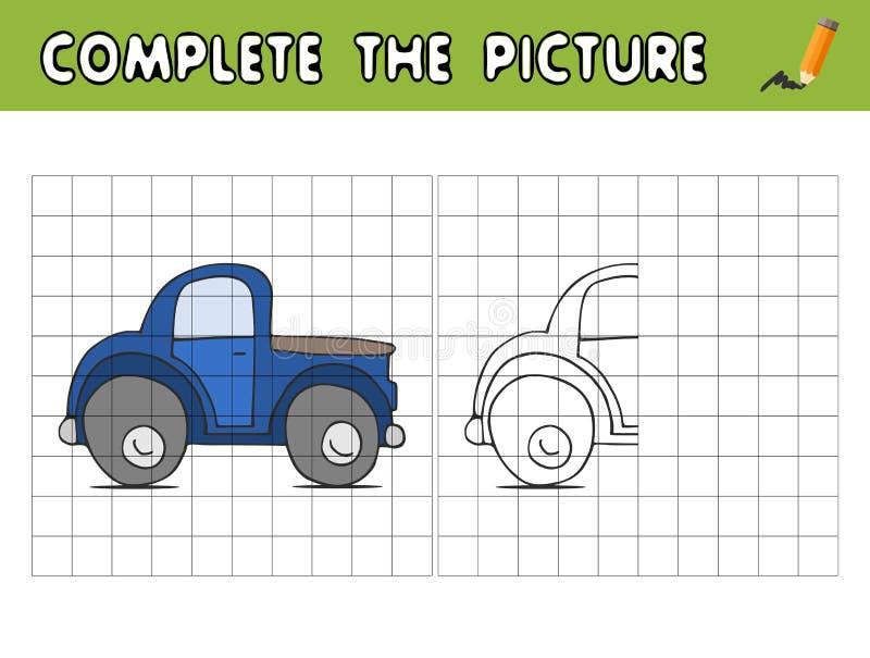 Voltooi het beeld van een auto Kopieer het beeld en kleur het Onderwijsspel voor kinderen stock illustratie
