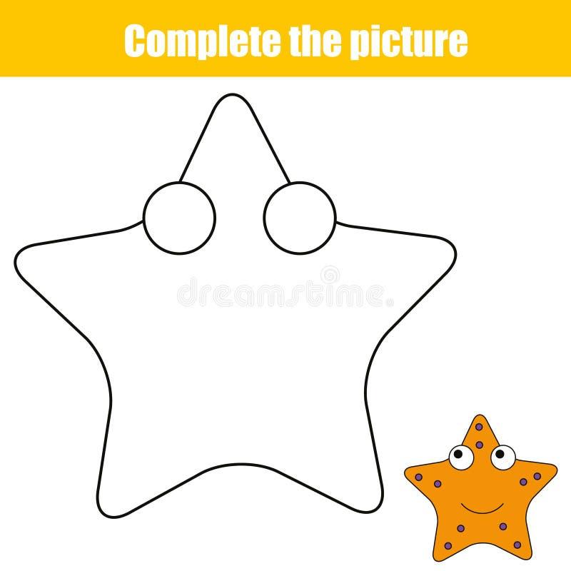 Voltooi het onderwijsspel van beeldkinderen, die pagina kleuren Het blad van de jonge geitjesactiviteit met zeester vector illustratie