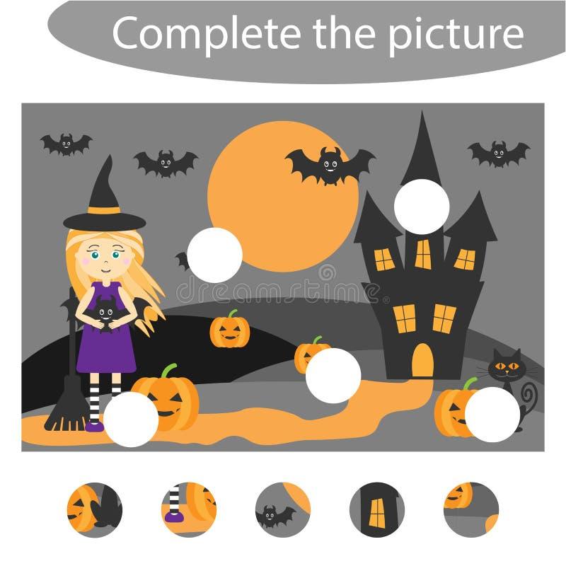 Voltooi het raadsel en vind de ontbrekende delen van het beeld, Halloween, het spel van het pretonderwijs voor kinderen, peuteraa royalty-vrije illustratie