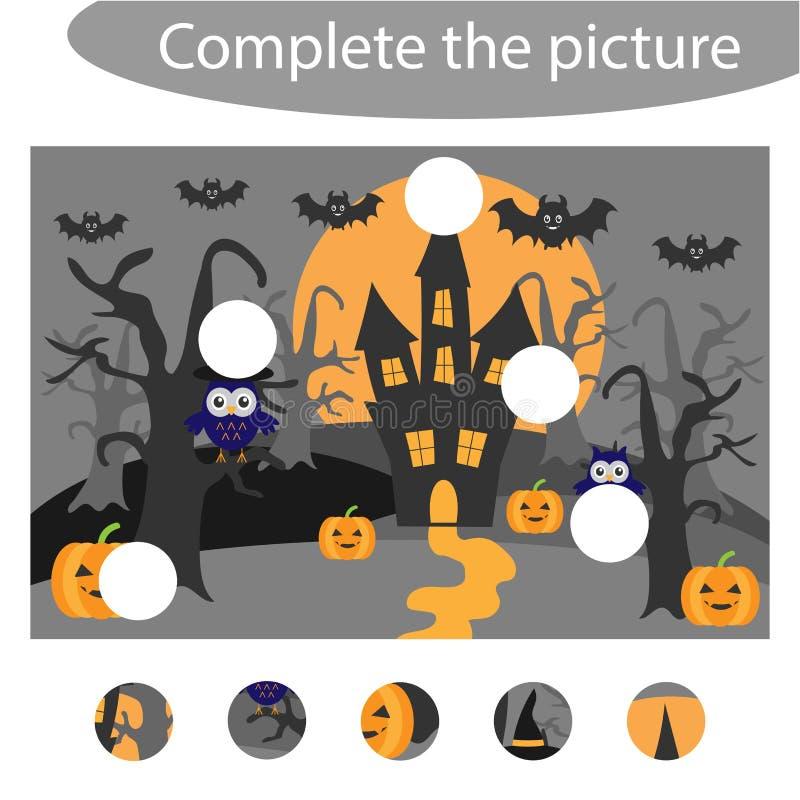 Voltooi het raadsel en vind de ontbrekende delen van het beeld, Halloween-het spel van het pretonderwijs voor kinderen, peuteraan royalty-vrije illustratie