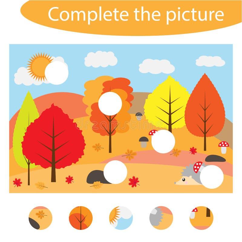Voltooi het raadsel en vind de ontbrekende delen van het beeld, de herfst, het spel van het pretonderwijs voor kinderen, peuteraa stock illustratie